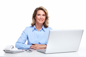 Business woman with a laptop computer.