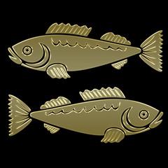 Sternzeichen Fisch - gold auf schwarz