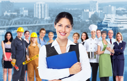 Business woman  and group of workers people.
