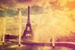 Eiffel Tower in Paris, Fance in retro style.
