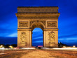 Arc de Triomphe at night, Paris, France.