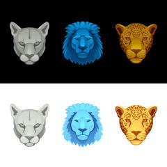 big cat set-lion, puma, jaguar