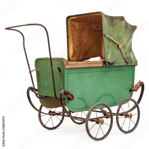 19th Century baby pram isolated on white
