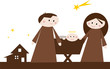 Cartoon-Krippenszene: Maria, Josef und Jesuskind