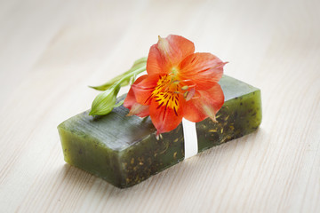 Soap bar with natural ingredients