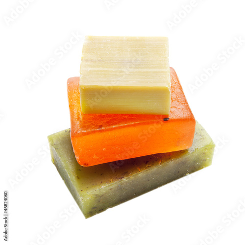 Soap bars with natural ingredients isolated - 46824060