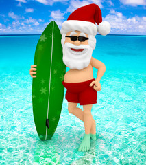 3D Santa at the beach