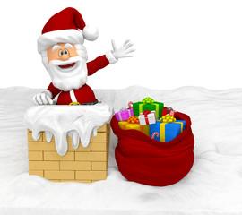 3D Santa in the chimney