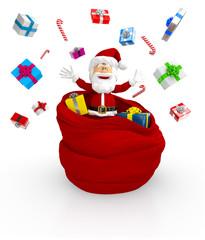 3D Happy Santa throwing gifts