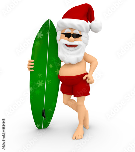 3D Santa enjoying the holidays