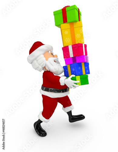 3D Santa carrying gifts