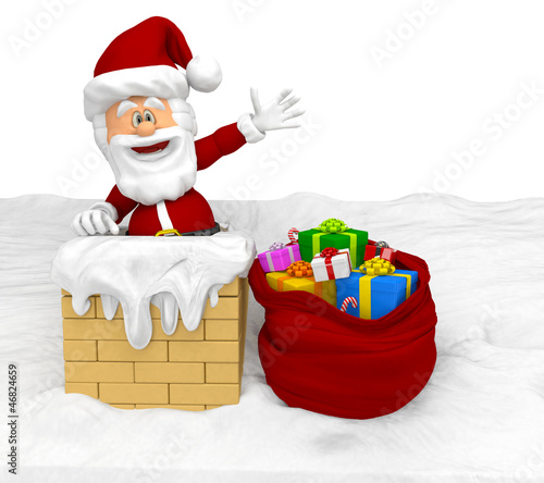 3D Santa in the chimney