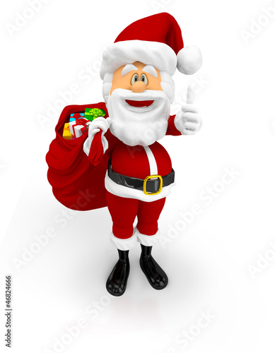 3D Santa with thumbs up