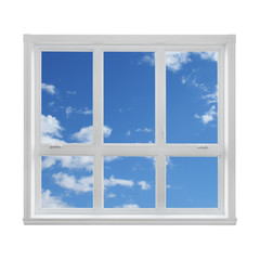 Blue sky seen through the window