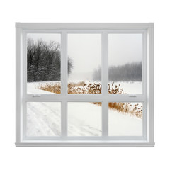 Winter landscape seen through the window
