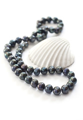 Black pearls and sea shell
