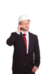 Bauleiter bei telefonieren