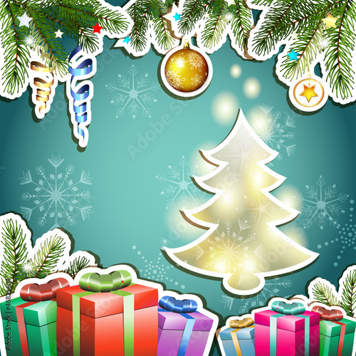 Christmas card with gifts and pine tree