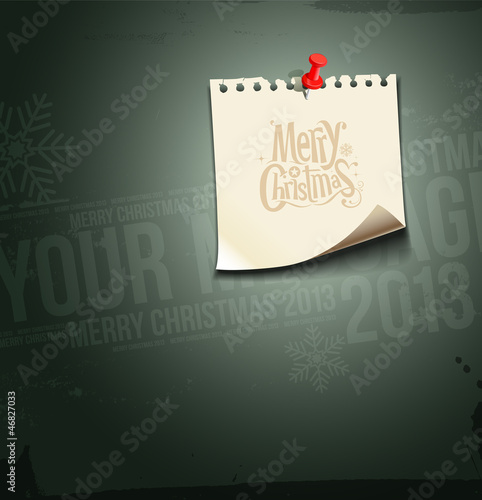 Merry Christmas. paper note message, vector
