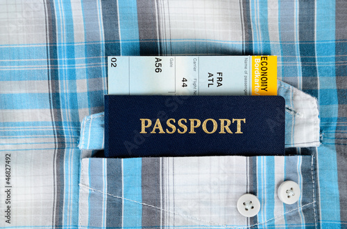passport,and boarding pass in a pocket of shirt