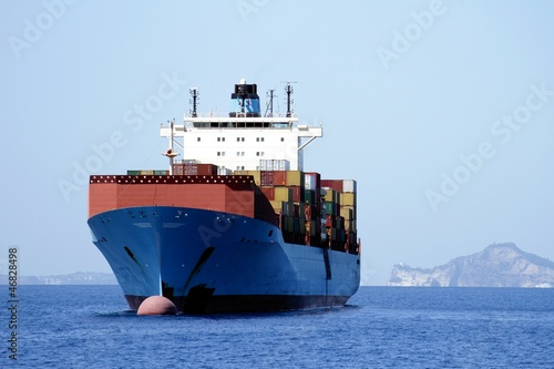 Big container ship anchored in Naples; Italy.