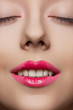Beautiful girl with happy smile. Fashion pink lips make-up