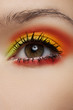 Macro of beautiful female eye with bright fashion make-up