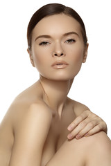 Wellness, spa & healthcare. Beautiful model with clean skin