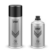 Two Gray Aerosol Spray Metal 3D Bottle Can