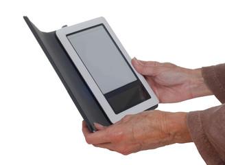 Hands holding an E-Reader.
