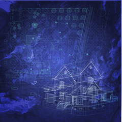 Abstract urban blueprint. Architectural background
