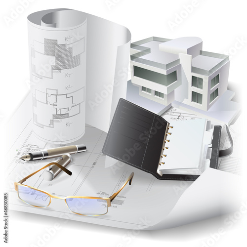 Architectural background with a building model and drawings