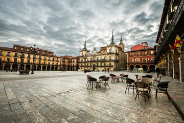 Plaza Mayor(main square) in Leon, Castilla y Leon, Spain