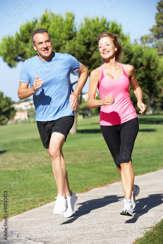 Senior Couple Exercising In Park