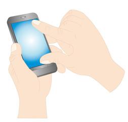 スマートフォンを操作する手