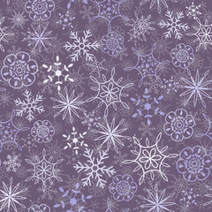 Seamless snow flakes pattern two layers