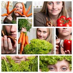Collage, gesundes Essen.