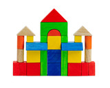 Colorful toy bricks children enjoy to build a castle or tower