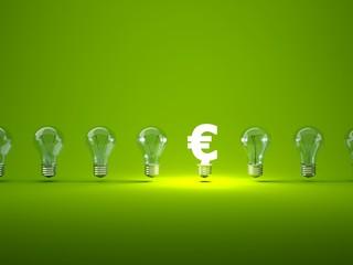 Luminous euro sign  with light bulbs