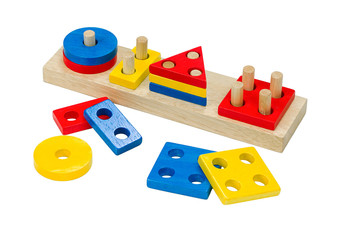 Colorful domino wooden toys isolated on white