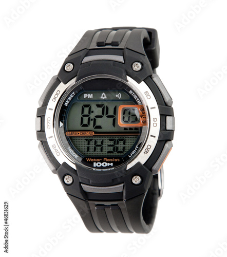 Smart sport wristwatch for men isolated