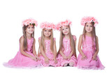 Four little girls with long hair in pink dresses poster