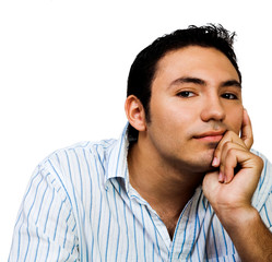 Latin American man thinking