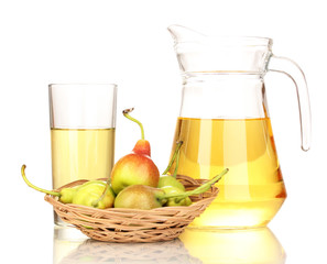 duchess drink with pears in basket isolated on white.