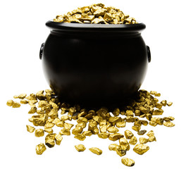 Nuggets of gold spilling out from pot