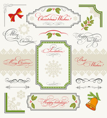 Christmas collection of calligraphic design elements