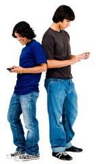 Young men text messaging
