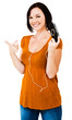 Caucasian woman listening media player