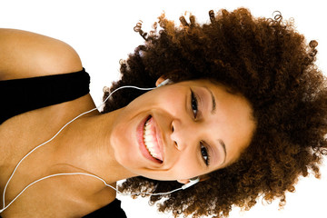African American woman listening music