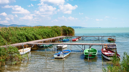 Angler boats at Lake Balaton,Hungary